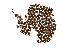 Antarctica - map of coffee bean. Antarctica map made of coffee beans vector illustration