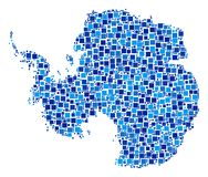 Antarctica Map Composition of Pixels. Antarctica map collage of random dots in various sizes and blue color tints. Vector rectangle items are composed into vector illustration