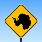 Antarctica map on road sign. Square poster with Antarctica country map on yellow rhomb road sign. Vector illustration stock illustration