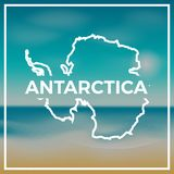 Antarctica map rough outline against the backdrop. Antarctica map rough outline against the backdrop of beach and tropical sea with bright sun royalty free illustration