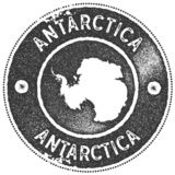 Antarctica map vintage stamp. Retro style handmade label, badge or element for travel souvenirs. Dark grey rubber stamp with country map silhouette. Vector stock illustration