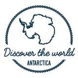 Antarctica mapy kontur Rocznik Odkrywa Zdjęcie Stock
