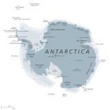 Antarctica mapy polityczne szarość barwić ilustracja wektor