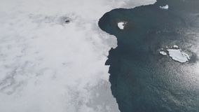 Antarctica ocean coast top down aerial view