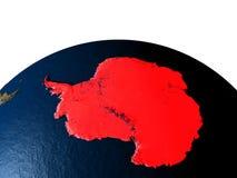 Antarctica od przestrzeni przy nocą ilustracja wektor