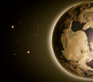 Antarctica od przestrzeni przy świtem ilustracja wektor