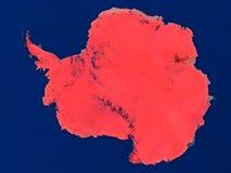 Antarctica od przestrzeni w czerwieni ilustracja wektor
