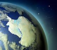 Antarctica od ziemi orbity royalty ilustracja