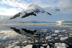 Antarctica over the water. Antarctic landscape, reflected in water Royalty Free Stock Photography