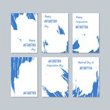 Antarctica Patriotic Cards for National Day. Expressive Brush Stroke in National Flag Colors on white card background. Antarctica Patriotic Vector Greeting stock illustration