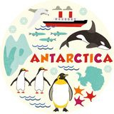 Antarctica. Pattern with animal and snow vector illustration