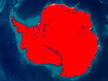 Antarctica on physical map. Antarctica highlighted in red on physical map. 3D illustration. Elements of this image furnished by NASA vector illustration