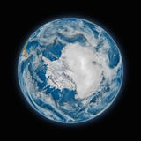Antarctica on planet Earth. Antarctica on blue planet Earth isolated on black background. Highly detailed planet surface. Elements of this image furnished by royalty free illustration