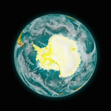 Antarctica on planet Earth. Antarctica on blue planet Earth isolated on black background. Highly detailed planet surface. Elements of this image furnished by stock illustration