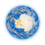 Antarctica on planet Earth. Antarctica on blue planet Earth isolated on white background. Highly detailed planet surface. Elements of this image furnished by stock illustration