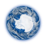 Antarctica on planet Earth. Antarctica on blue planet Earth on white background. Highly detailed planet surface. Elements of this image furnished by NASA stock illustration