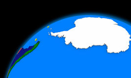 Antarctica on planet Earth political map stock illustration