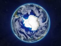 Antarctica on planet Earth from space. Antarctica from space on realistic model of planet Earth with very detailed planet surface and clouds. 3D illustration stock illustration