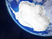 Antarctica on planet Earth from space. Very fine detail of planet surface and clouds. 3D illustration. Elements of this image vector illustration