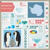 Antarctica (Południowy słup) infographics, statystyczny dane, widoki ilustracji