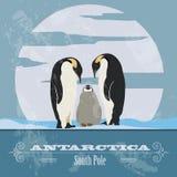 Antarctica Południowy słup Retro projektujący wizerunek royalty ilustracja