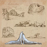 Antarctica: Podróż dookoła świata Wektorowi rysunki ilustracji