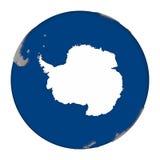 Antarctica on political globe vector illustration