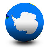 Antarctica on political globe illustration Royalty Free Stock Photo