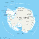Antarctica Political Map. With south pole, scientific research stations and ice shelfs. English labeling and scaling. Illustration stock illustration