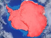 Antarctica on realistic model of planet Earth with very detailed planet surface and clouds. Continent highlighted in red colour. vector illustration