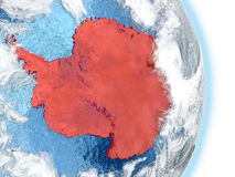 Antarctica in red on Earth Royalty Free Stock Images