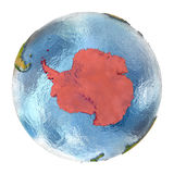 Antarctica in red on full Earth Stock Photos