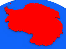 Antarctica in red. Map of Antarctica highlighted in red on a globe. 3D illustration vector illustration
