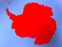 Antarctica in red on map. Map of Antarctica highlighted in red on simple shiny metallic map with clear country borders. 3D illustration vector illustration