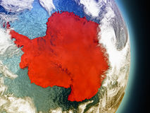Antarctica in red from space. Model of Antarctica from Earth's orbit in space. 3D illustration with highly detailed realistic planet surface and clouds in the vector illustration