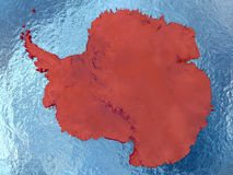 Antarctica in red. Top-down view of Antarctica highlighted in red with surrounding region. 3D illustration with highly detailed realistic planet surface stock illustration