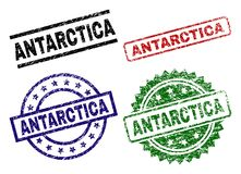 Scratched Textured ANTARCTICA Stamp Seals. ANTARCTICA seal prints with corroded style. Black, green,red,blue vector rubber prints of ANTARCTICA text with dirty stock illustration