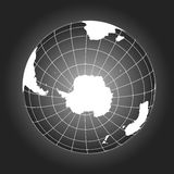 Antarctica and South Pole map in black and white Royalty Free Stock Image