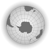 Antarctica and South Pole map in gray tones Stock Image