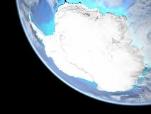 Antarctica on Earth from space. Antarctica from space on a beautifully crafted 3D model of Earth. 3D illustration. Elements of this image furnished by NASA royalty free illustration