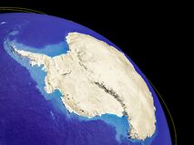 Antarctica from space. With country borders and trajectories representing global communication, travel, connections. 3D illustration. Elements of this image vector illustration