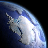 Antarctica from space at dawn. Antarctica in the dark at dawn. 3D illustration with detailed planet surface, atmosphere and visible city lights. Elements of this royalty free illustration