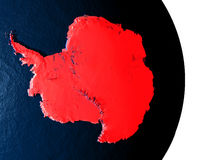 Antarctica from space during dusk. Dusk over Antarctica highlighted in red with city lights as seen from Earth's orbit in space. 3D illustration with highly vector illustration