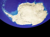 Antarctica from space on Earth. Antarctica from space. Beautifully detailed plastic planet surface with mountains and blue oceans with ripples. 3D illustration stock illustration