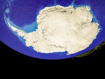 Antarctica from space on Earth. With country borders and lines, concept of communication, travel, connections. 3D illustration. Elements of this image furnished vector illustration
