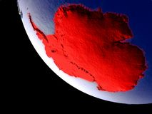 Antarctica from space on Earth. Orbit view of Antarctica at night with bright city lights. Very detailed plastic planet surface. 3D illustration. Elements of vector illustration