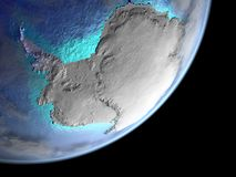 Antarctica from space on Earth. Antarctica from space on planet Earth. 3D illustration. Elements of this image furnished by NASA vector illustration