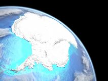 Antarctica from space on Earth. Antarctica on planet Earth from space. Extremely fine detail of planet surface with real plastic mountains and ocean floor. 3D vector illustration