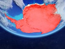 Antarctica from space on Earth. Antarctica on realistic model of planet Earth with country borders and very detailed planet surface and clouds. 3D illustration vector illustration