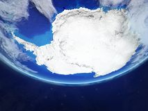 Antarctica from space on Earth. Antarctica from space on realistic model of planet Earth. Extremely fine detail of planet surface and clouds. 3D illustration royalty free illustration